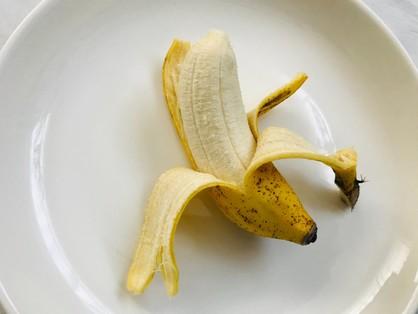 島バナナをむいた状態。皮が薄い。